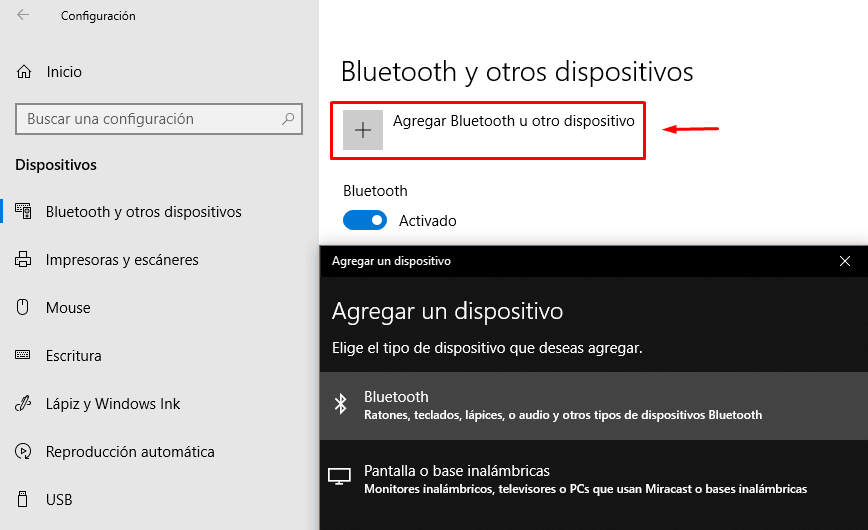 Agregar Bluetooth Windows