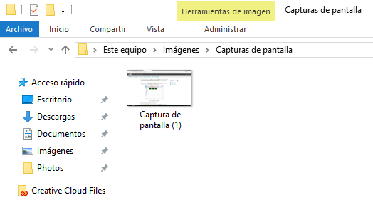 Captura de pantalla Windows