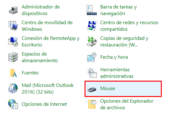 configuración del touchpad