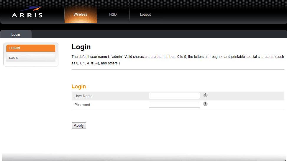login-arris-router