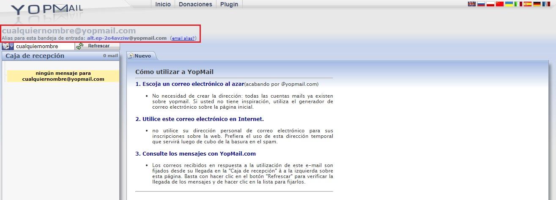 cómo usar una cuenta Yopmail